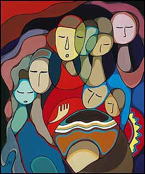 Daphne Odjig 1919 - Canadian acrylic on canvas