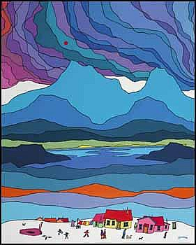 Ted Harrison 1926 - Canadian acrylic on board