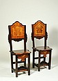 TWO MAPLE INLAID SOLID WALNUT CHAIRS