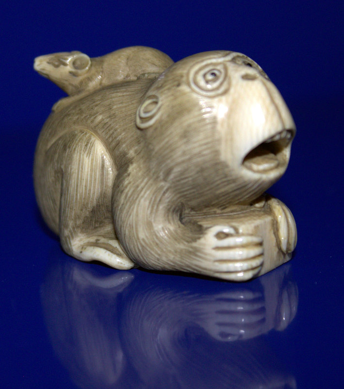 Japanese Finely Carved Ivory Netsuke Depicting A Monkey/Baboon With A Rat On It's Back, Signed To Base
