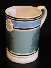 Early 19thC Georgian Mochaware Pint Mug, With Black Seaweed Pattern On A Green Ground With Blue And Black Bands, Applied Weights And Measure Pint Crest