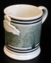 Early 19thC Georgian Mochaware Imperial Mug, With Black Seaweed Pattern On A Green Grey Ground With Black Bands, Applied Weights And Measure Imperial Crest