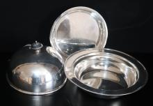 Solid Silver Three Piece Muffin Warmer, All Fully Hallmarked For Sheffield  S 1910, Makers Mark For James Dixon & Sons Ltd, Total Weight 596g, Diameter 7 Inches