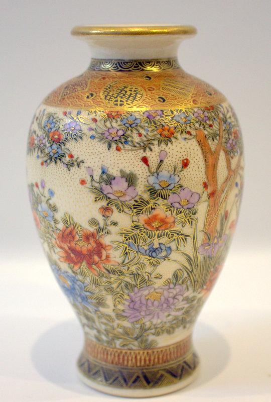 vase small japanese satsuma birds decorated blossom seal inches mark base lot height
