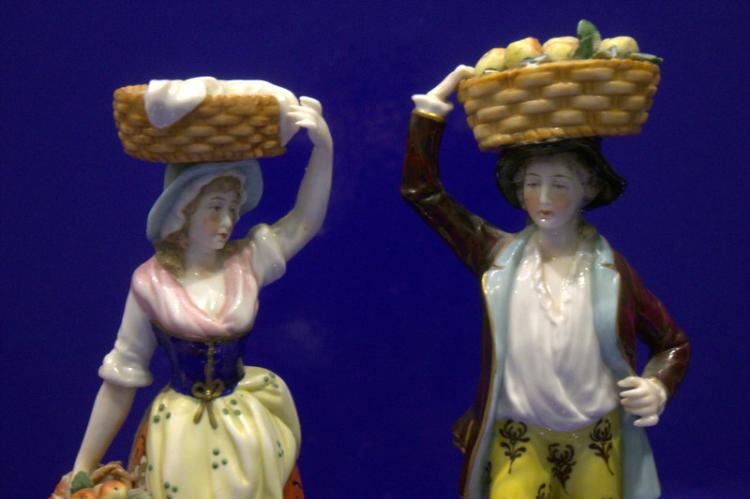 Pair Of Samson Figures, Fruit Sellers With Chelsea Gold Anch