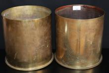PAIR OF LARGE BRASS SHELL CASES FROM WW1, STAMPED TO BASE SP 255 AUG 1917 PATRONEN FABRIK, ENGRAVED TO BASE WITH ORIENTAL CHARACTER MARKS, ONE ENGRAVED TO THE BODY WITH A COILING DRAGON, DIAMETER 9 INCHES, HEIGHT 9 INCHES