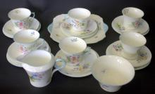 SHELLEY WILD FLOWERS 13668 TEA SET, TO INCLUDE SIX CUPS, SAUCERS AND SIDE PLATES, CREAM, SUGAR AND B&B PLATE. 21 PIECES, THREE CUPS WITH HAIRLINE