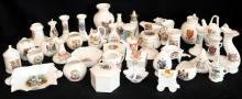 COLLECTION OF CRESTED WARE, 42 PIECES  TO INCLUDE VASES, PIN BOXES, JUGS, BOWLS ETC, TOWNS TO INCLUDE BUXTON, GRETNA GREEN, WEST GATE, JERSEY, PORTLAND, EDINBURGH ETC A/F