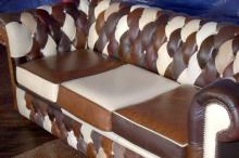 ENGLISH 3 SEATER PATCHWORK LEATHER CHESTERFIELD SETTEE IN VARIOUS SHADES OF BROWNS, 6'6