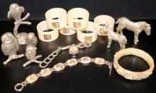 MIXED LOT OF WHITE METAL ORNAMENTS , NAPKIN RINGS, COSTUME JEWELLERY ETC