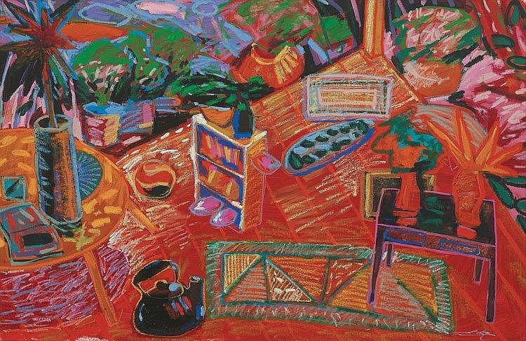 RAFIEE GHANI (b. 1962), Red Room, Black Kettle and a Tired Man, 1996, Oil on canvas