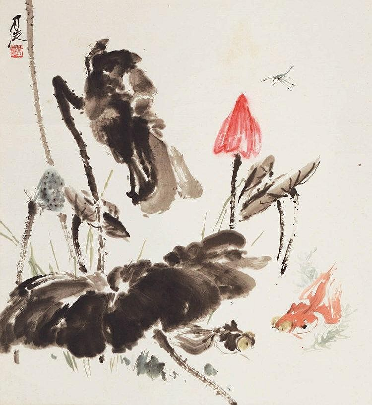 Zheng Yuebo 郑月波, Lotus Pond 荷塘清趣 (undated), ink and colour on rice paper