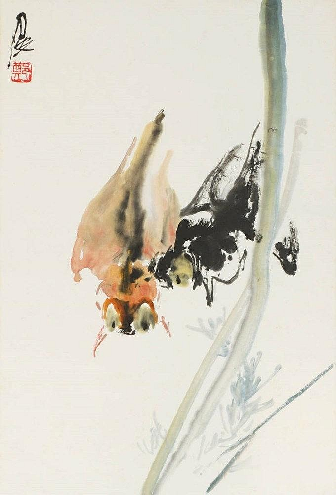 Zheng Yuebo 郑月波, The Lovely Couple 鱼乐图 (undated), ink and colour on rice paper mounted on scroll