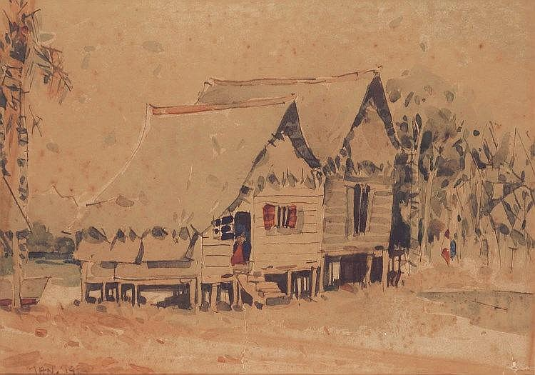 Tan Choon Ghee 陈存义, Kampung (1960), watercolour on paper