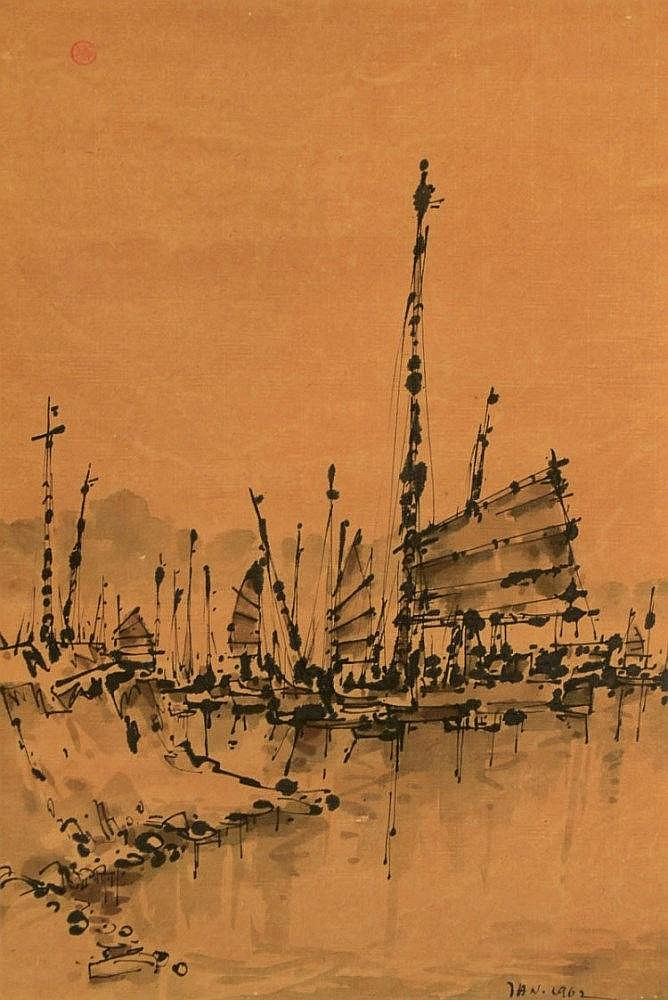 Tan Choon Ghee 陈存义, Boats (1962), ink on paper mounted on scroll