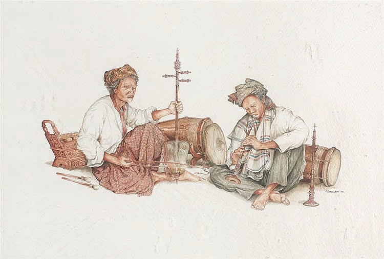 A. KASIM ABAS (b. 1948) MALAY MUSICIANS OF THE EAST COAST MALAYSIA, 1983, Dry brush watercolour on paper