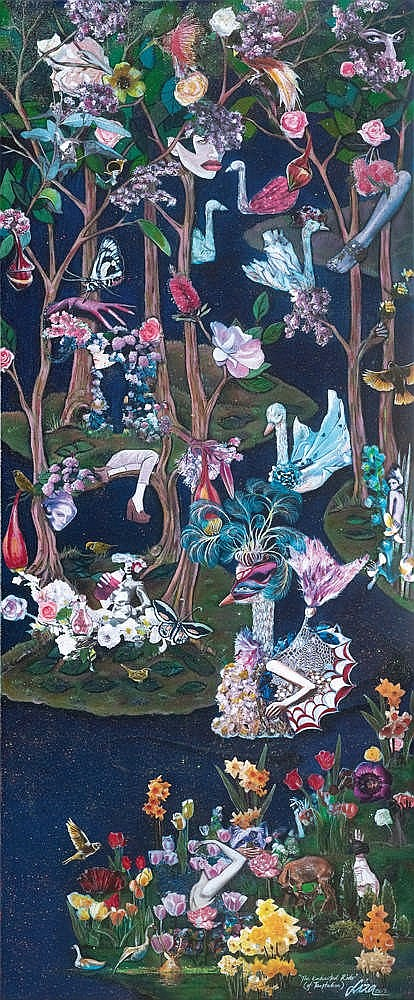 AZLIZA AYOB (b. 1975) THE ENCHANTED RIVER (OF TEMPTATION), 2013, Acrylic, collage & glitter on canvas