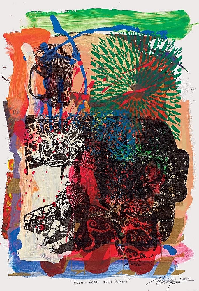 KELVIN CHAP (b. 1974) Pola-pola Asli Series, 2002, Mixed media on paper