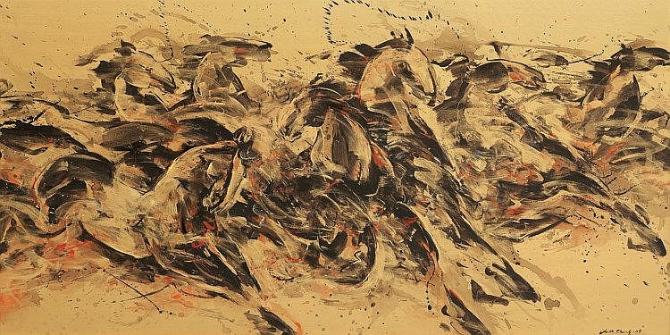 LIM AH CHENG (b. 1968) Golden Horses 7, 2009, Mixed media on canvas