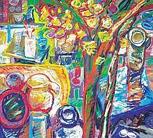 RAFIEE GHANI (b. 1962) Green Chillies, Undated, Acrylic on canvas