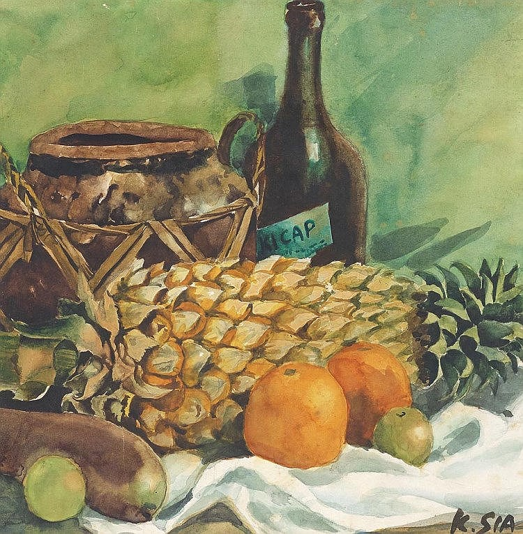 KHAW SIA (b. 1913 - d. 1984) Still Life With Kicap, c.1940s, Watercolour on paper