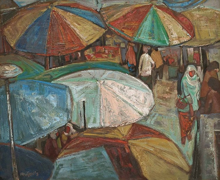 TEW NAI TONG (b. 1936 - d. 2013), Market, 1989, oil on board