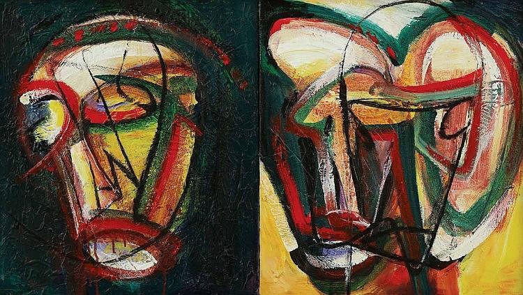 YUSOF GHANI (b. 1950), Topeng Muka Merah I & II, 1997, mixed media on canvas