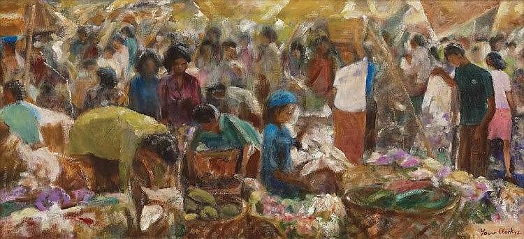 FUNG YOW CHORK (b. 1918 - d. 2013), Pasar Tani, 1992, oil on canvas