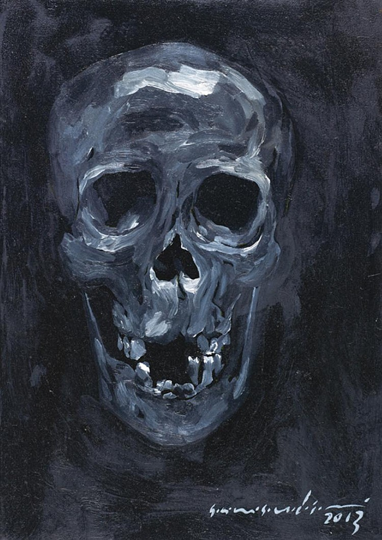 SAMSUDIN WAHAB (b. 1984) SELF-PORTRAIT (BLACK SKULL), 2013, Oil on canvas