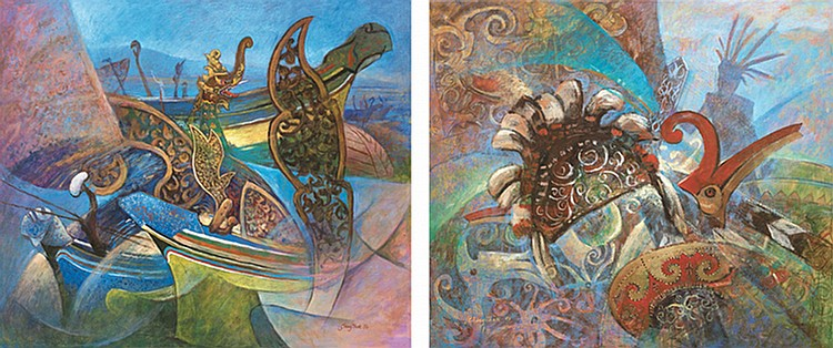 LUI CHENG THAK (b. 1967) MALAY CULTURE SERIES: RHYTHM-KELANTAN; CULTURE SERIES: EXPRESSION-SARAWAK, 1996; 1995, Oil on canvas