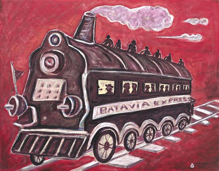 HERI DONO (b. 1960) BATAVIA EXPRESS, 2010, Acrylic and collage on canvas