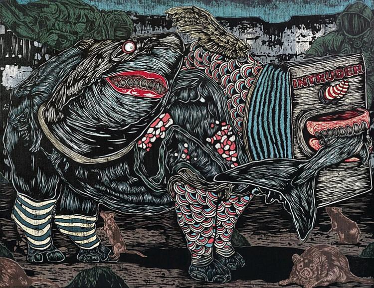 SHAFIQ NORDIN (b. 1989) HIDDEN INTRUDER, 2014, Acrylic and lino ink on jute
