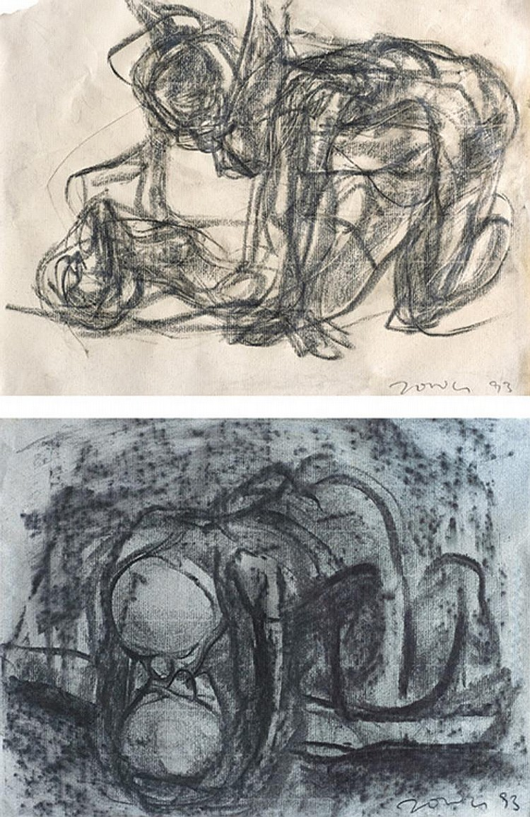 JIMMY ONG (b. 1964) STUDY, BY THE RIVER II; STUDY, KISSING, 1993, Charcoal on paper