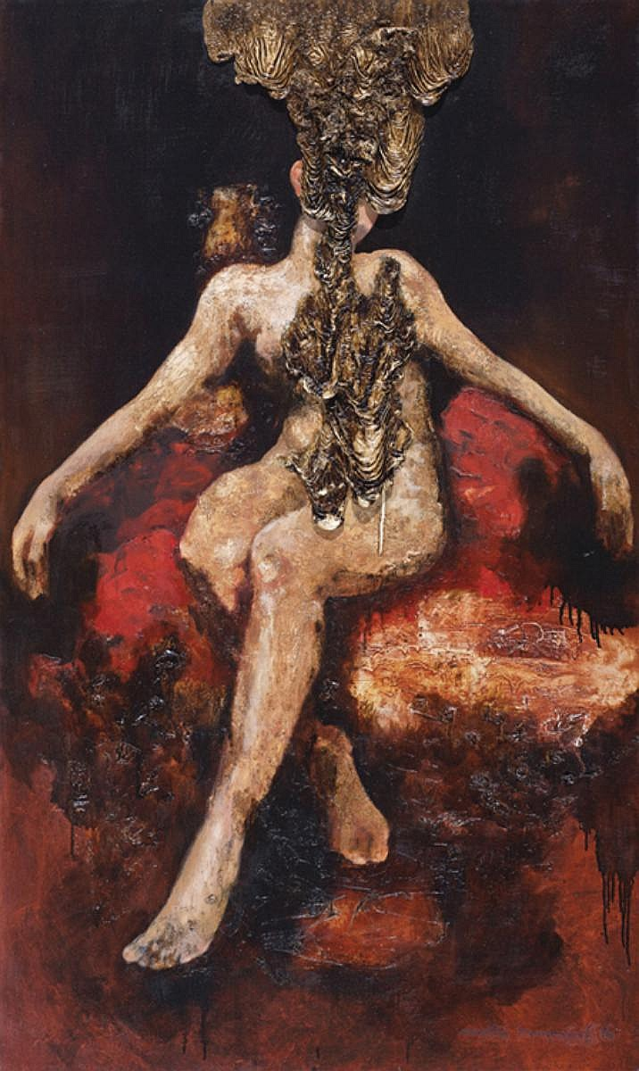 AELY MANAF (b. 1975) FIGURE #RED, 2016, Mixed media on canvas