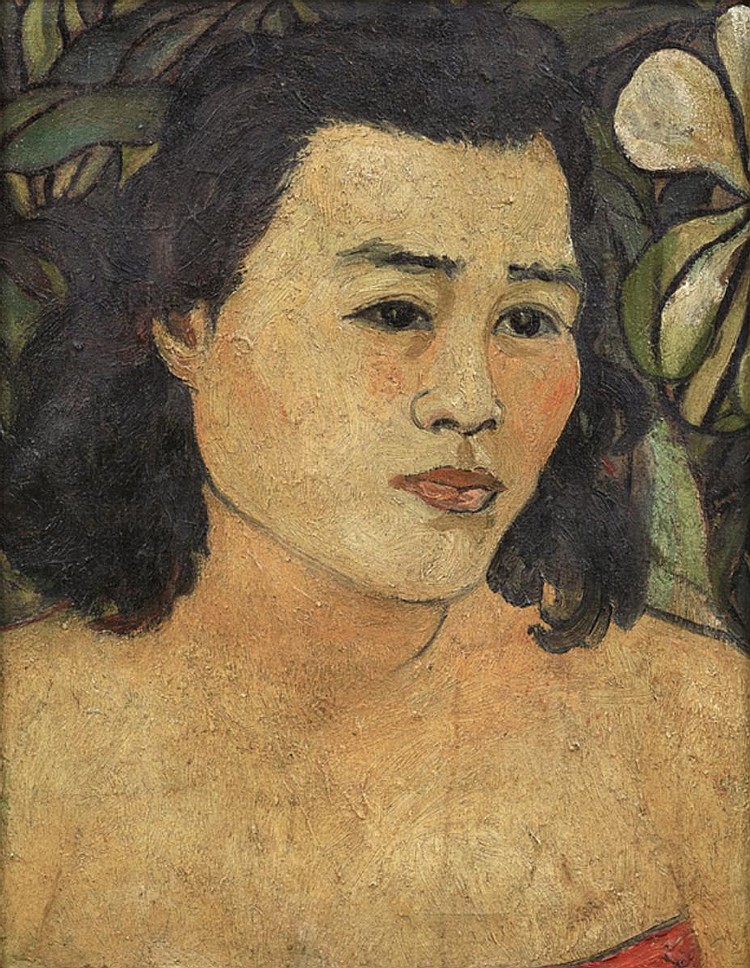 LEE CHENG YONG (b. 1913 - d. 1974) LADY WITH LEAVES, undated, Oil on canvas laid on board