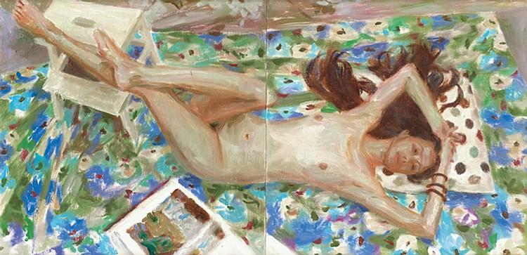 GAN CHIN LEE (b. 1977) LYING NUDE, 2012, Oil on board