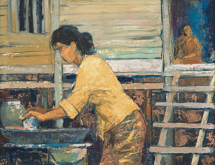 LONG THIEN SHIH (b. 1946) GRINDING CHILLIES, 1962, Oil on masonite board