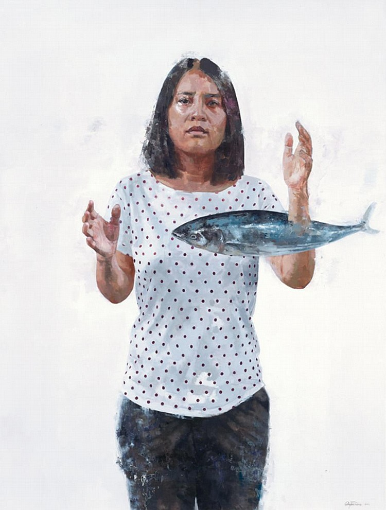 GAN TEE SHENG (b. 1984) WOMAN WITH FISH, 2016, Oil on canvas