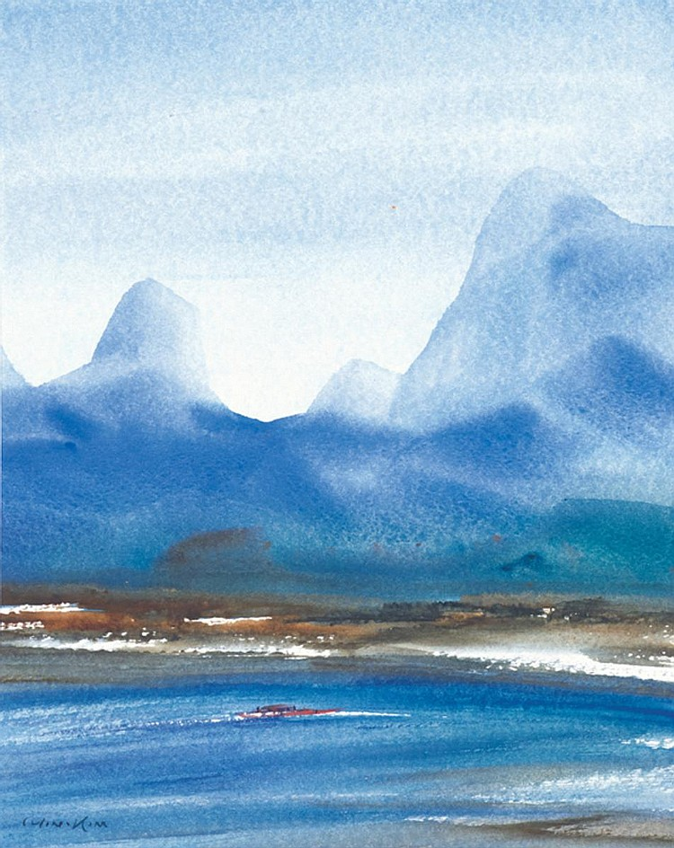RICHARD WONG (b. 1955) LANDSCAPE OF GUILIN, CHINA, 1990, Watercolour on paper