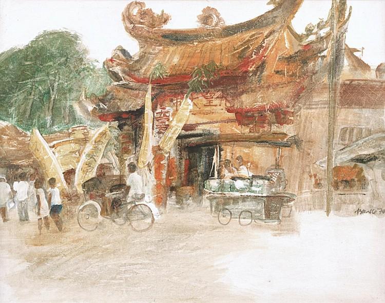 HO KHAY BENG (b. 1934 - d. 1986) TEMPLE NINE EMPERORS, 1974, Oil on canvas