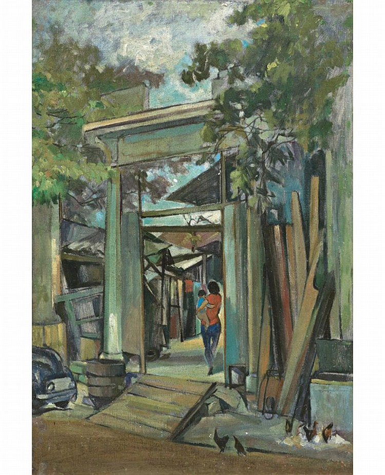 KUO JUPING (b. 1908 - d. 1966) MY NEIGHBOUR, undated, Oil on canvas