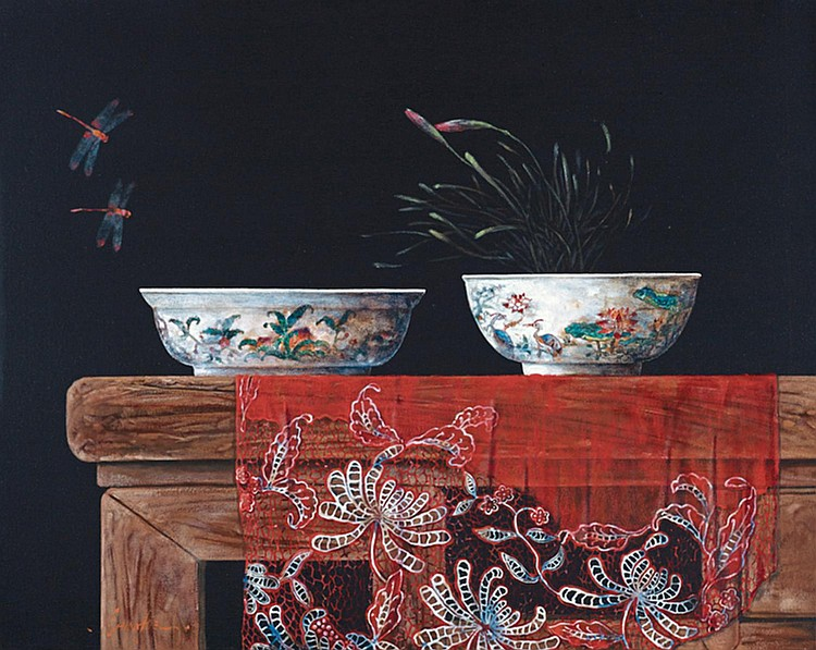 YAP CHIN HOE (b. 1970) TWO BOWLS, undated, Oil on canvas