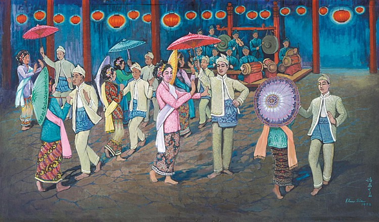 KHAW SIA (b. 1913 - d. 1984) JOGET UNDER CHINESE LANTERNS, 1972, Oil on canvas mounted on board