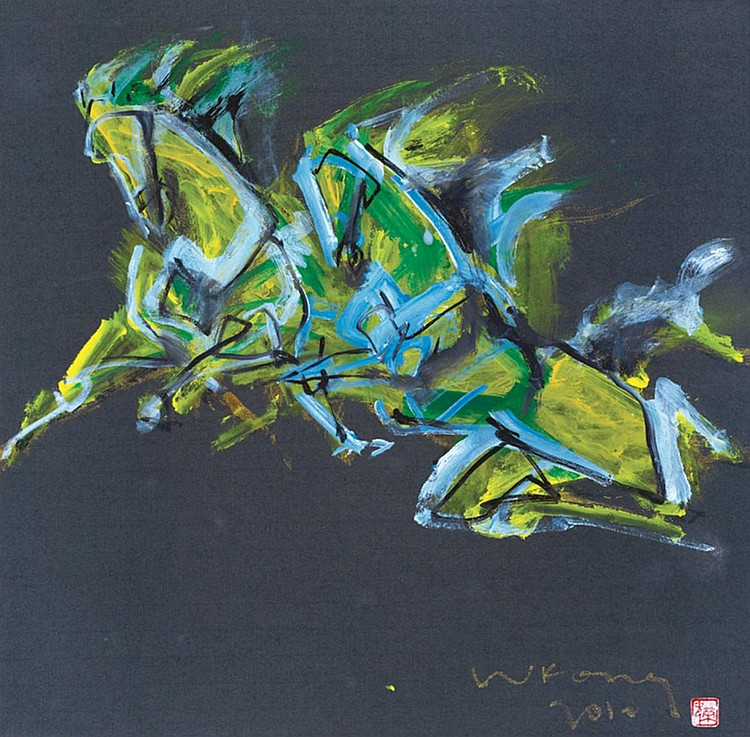 LUM WENG KONG (b. 1952) SUCCESSFUL (马到功成), 2012, Mixed media on rice paper