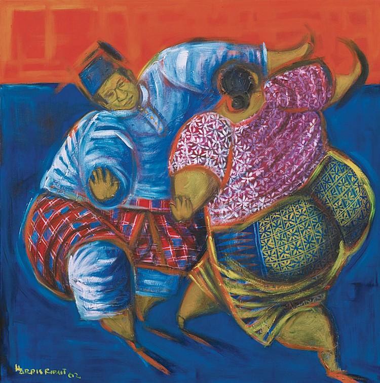 HARRIS RIBUT (b. 1951) DANCING COUPLE, 2002, Acrylic on canvas