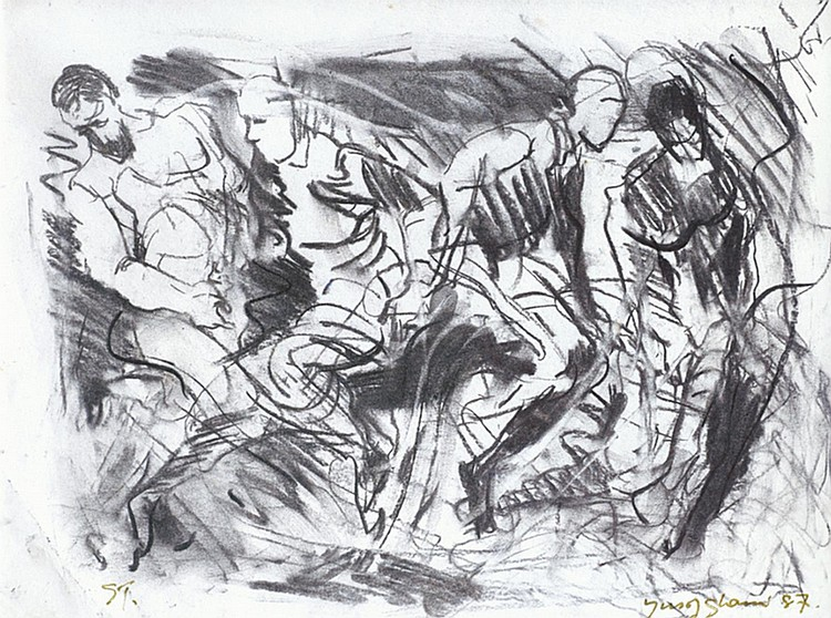 YUSOF GHANI (b. 1950) TARI, 1987, Charcoal on paper