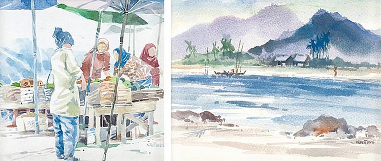 TEW NAI TONG (b. 1936 - d. 2013) MARKET; BEACH, undated, Watercolour on paper
