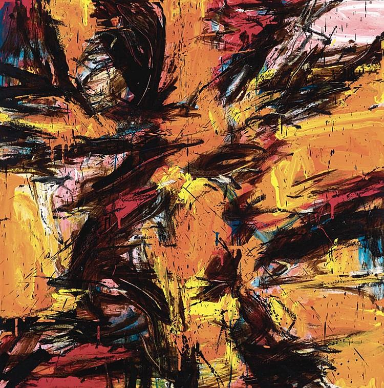 SUZLEE IBRAHIM (b. 1967) BLACK LINE SERIES: NO.5, 2013, Acrylic and oil on canvas