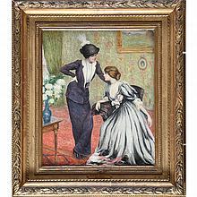 "RIDEL Louis-Marie-Joseph. (1866-1937). ""The Conversation"". Canvas signed. ("