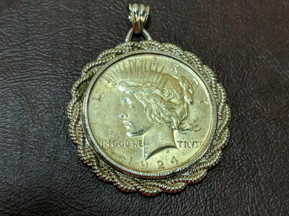1924 Peace Dollar in Sterling Bezel